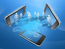 Phones and people united in the command network. Stock Images