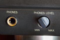 Phones socket. And volume knob on a hifi amplifier Stock Photos