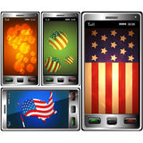 Phones and symbolics USA Royalty Free Stock Photos