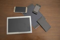 Phones and tablets. Image of phones and tablets royalty free stock images