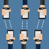 Phones transmit information. Vector illustration, phones transmit information to other phones, wirelessly Royalty Free Stock Images