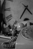 Phones on vintage black and white. Royalty Free Stock Image