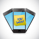 Phones and you win message illustration design Stock Photography