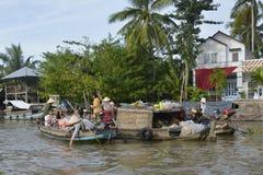 Tourists at Phong Dien Floating Market Stock Photos