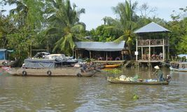 Two Boats at Phong Dien Floating Market Stock Images