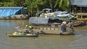 Two Boats at Phong Dien Floating Market Royalty Free Stock Photography