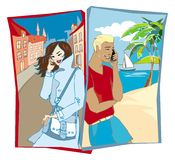 Phoning couple. Man and woman calling to each other vector illustration