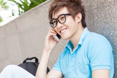 Phoning lad Royalty Free Stock Images