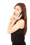 Phoning young women keeping silence sign Royalty Free Stock Photos