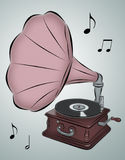 Phonograph. Line drawing of phonograph with musical notes royalty free illustration