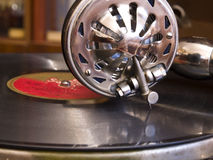 Phonograph. Ancient phonograph with a vinylic plate Royalty Free Stock Photography