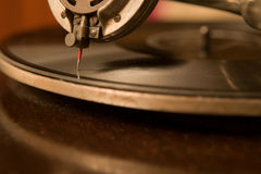 Phonograph. Closeup of an old gramophone, shallow depth of focus Royalty Free Stock Image