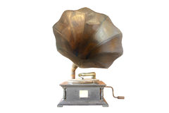 Phonograph antique. On white background, clipping path in picture Royalty Free Stock Photos