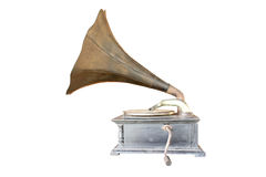 Phonograph antique. On white background, clipping path in picture Royalty Free Stock Photography