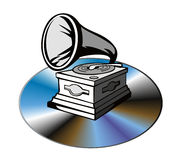 Phonograph with cd Royalty Free Stock Images