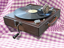 Phonograph on country gingham Royalty Free Stock Image