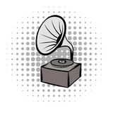 Phonograph grey comics icon. Phonograph grey and black comics icon. Musical equipment on a white background Royalty Free Stock Photo