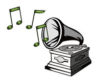 Phonograph with musical notes Royalty Free Stock Images