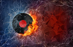 Phonograph record in fire and water. Phonograph record on fire and water with lightening around on abstract polygonal background. Horizontal layout with text Royalty Free Stock Photography