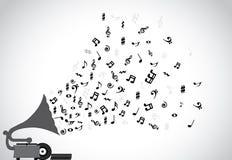 Phonographe d'illustration de conception de l'avant-projet jouant la musique calmante lente et les différentes notes Photos libres de droits