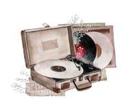 Phonographe de cru d'aquarelle d'isolement sur le fond blanc photographie stock