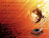 Phonographe sur le fond musical illustration de vecteur