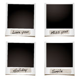 Phoro feelings. Instant photograph with tape and special feelings hand written Royalty Free Stock Photo