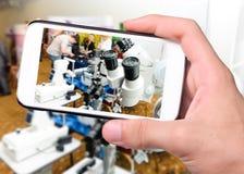 Phoropter okulistyczny przyrząd dla mierzyć wzrok ludzki oko Zdjęcia Stock