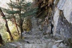 Phortse Tenga Trail - Nepal. Trekking trail near Phortse Tenga royalty free stock photo