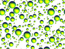 Phosphorescent bubbles or spheres on white background. Phosporescent bubbles of various sizes on white background Stock Images