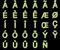 Phosphorescent kapitałowi listy z diacritics zdjęcie royalty free