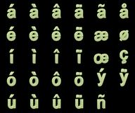 Phosphorescent small letters with diacritics Stock Photos