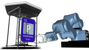 Phosphorus symbol in square shape with metallic edge in front of a mechanical arm that will hold a chemical container. 3D render. Element number 15 of the stock illustration