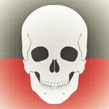 Photo âgée par crâne sur le fond rouge noir Photographie stock