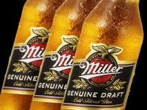 Photo éditoriale des bouteilles en gros plan de Miller Genue Draft Beer d'isolement sur le noir Photos libres de droits