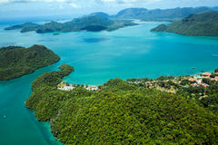 Photo aérienne d'île de Langkawi, Malaisie photos libres de droits
