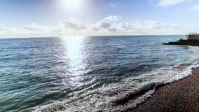 Photo aérienne d'image du beau lever de soleil 4K avec des vagues Image libre de droits
