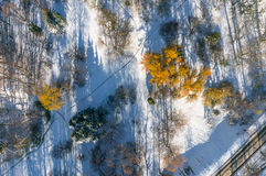 Photo aérienne de parc avec la neige tôt Image stock