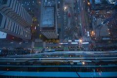 Photo aérienne de vue supérieure de bourdon volant de ville de Seattle photos stock