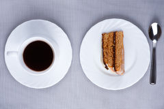 Photo above: cup of coffee and cake Stock Photo