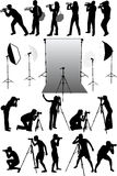Photo accessories. Studio equipment, silhouettes of people Stock Photography