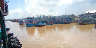 photo of the activities of the fishermen in the harbor of Indonesia, collecting fish at the fish auction place