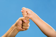 Photo of adult and children's hands Royalty Free Stock Images