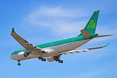 An Aer Lingus Airbus A330-200 Rear View. Photo of an Aer Lingus Airbus A330-200 on final approach to Toronto Pearson International Airport. The A332 is the stock photo