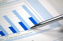 Photo affichant le diagramme financier et courant Photographie stock libre de droits