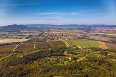 Photo agricole aérienne d'un paysage hongrois, près du Lac Balaton images libres de droits