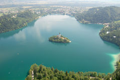 Photo from air perspective, Bled lake with island, Royalty Free Stock Photos