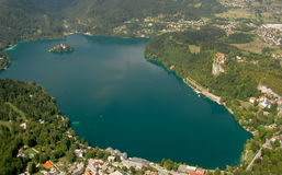 Photo from air perspective, Bled lake with island, Stock Photo