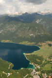 Photo from air perspective, Bohinj lake with mountains Royalty Free Stock Photos