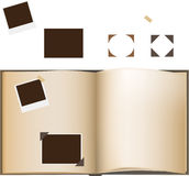 Photo Album. The image of the photo album. Some separate photos and corners royalty free illustration